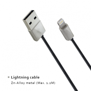 Lightning cable - Zn-Alloy metal (Max. 1.2M)