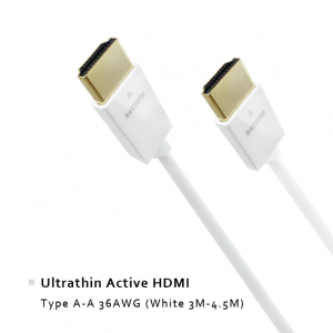 Ultrathin Active HDMI - Type A-A 36AWG (White 3M-4.5M)